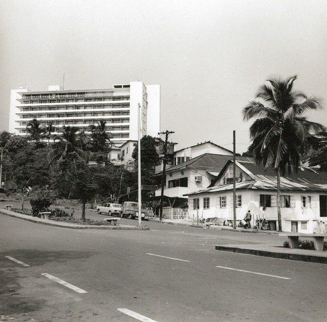 Street with modern hotel. Gerhard Vetter, 1960