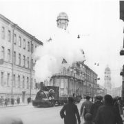The locomotive moving along the tram rails on Zagorodny Avenue in besieged Leningrad, October 1942