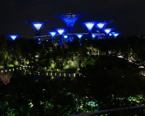 Blue color of night illumination. Singapore melting pot blue color