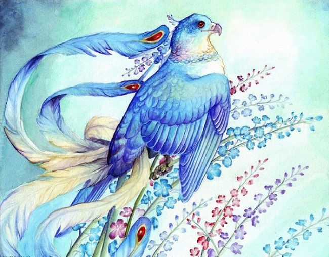 Symbolic Blue bird of happiness