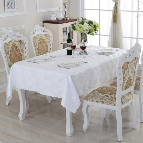 Pure white tablecloth