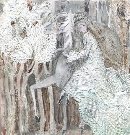 Where dreams live. A woman in white on a White horse. Artist Alyona Koneva. White color meaning in Slavic mythology