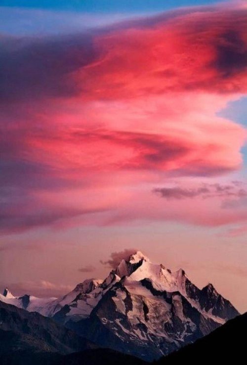 Sunset colors over mountains