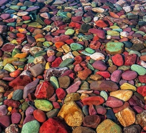 Picturesque Lake McDonald colorful stones