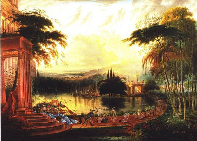 Arrival of the Queen of Sheba, painting by Samuel Coleman