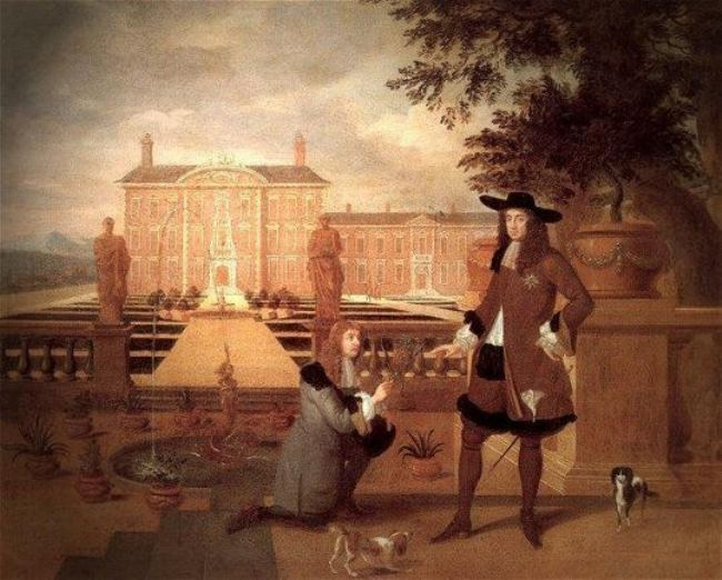 English King Charles II poses for his royal portrait, while the royal gardener presents him with pineapple, John Rose, 1675.