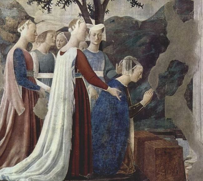 Queen of Sheba kneels before the Life-giving Tree, fresco by Piero della Francesca, Basilica of San Francesco in Arezzo